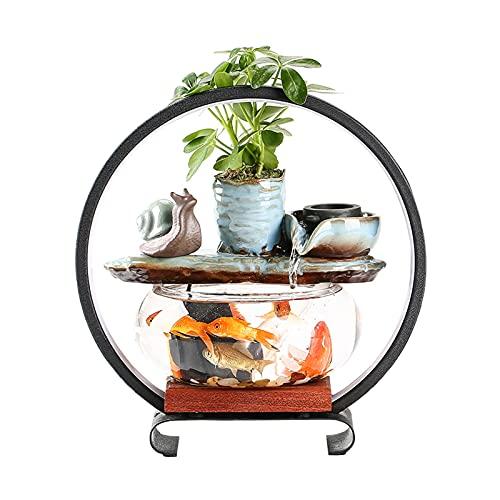 DUTUI Kleines Transparentes Aquarium, Wohnzimmer, Bar-Veranda-Tischplatte, Einzigartiges Ringförmiges Wasser-Goldfischbecken Mit Festem Boden, LED-Licht