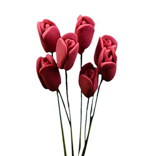 Diyiming 10 piezas de flores artificiales de tulipán en miniatura para jardín de hadas, decoración de casa de muñecas en miniatura, musgo, bonsái, micro paisaje, manualidades, adorno de jardín