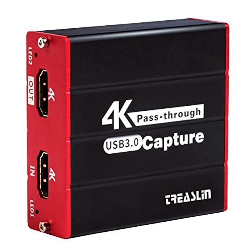 TreasLin Tarjeta de captura de juegos USB 3.0, Tarjeta de captura de video HDMI Transmisión en vivo para PS5 PS4, Nintendo Switch, Wii U, DSLR, Xbox, Compatible con Windows, Mac, Paso HDMI de latencia cero