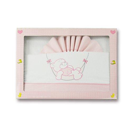 Pekitas - Parure di lenzuola, in flanella, per bebè, culla da 60 x 120 cm, 100% cotone, realizzato in Portogallo, 3 pezzi Rosa-Bianco