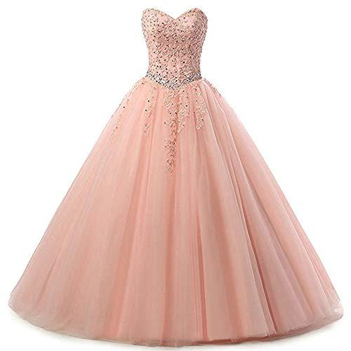 Zorayi Damen Liebsten Lang Tüll Formellen Abendkleid Ballkleid Festkleider Rosa Größe 48