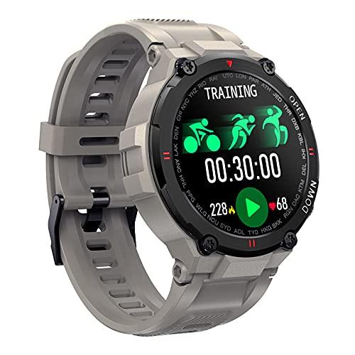 Rvlaugoaa Reloj Inteligente Bluetooth 5.0 Call Smartwatch Hombres Fitness Tracker Podómetro Pulsera Deportiva Control De Música Pulsera Inteligente A Prueba De Agua para Teléfonos Android iOS,Gris