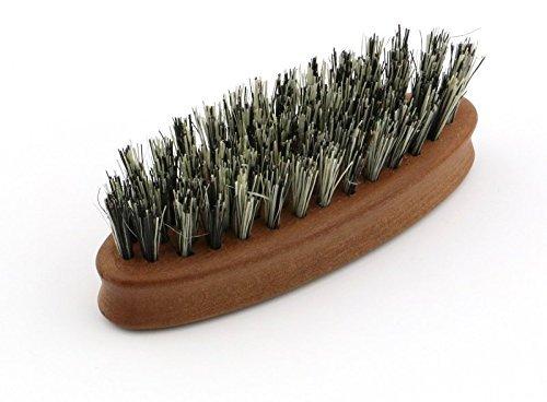 Bartbürste vegan - ovale Bürste für Veganer und Tierhaar-Allergiker aus zertifiziertem Birnbaumholz und grauer Faser (Fibre), zur Bartpflege, Vollbart, Kosmetik, Maße ca. 83 x 27 mm, Made in Germany