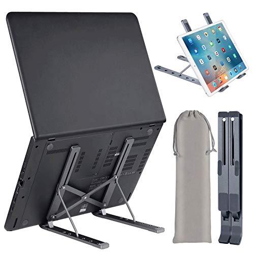 "Laptop Stand, Merkisa Adjustable Laptop Computer Stand Tablet Stand,Aluminum Ergonomic Foldable Portable Desktop Holder Compatible with MacBook Air Pro, Dell XPS, HP, Lenovo More 10-17"" Laptops"