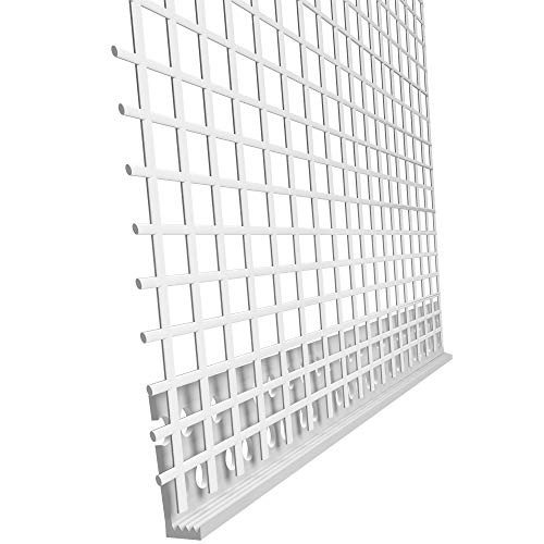 bauFIT 25x PVC Abschlussprofil für 6mm Putzstärke je Stab 2,0m (Insgesamt 50m) Putzprofil Putzabschluss mit Gewebe Armierungsgewebe