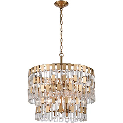 Elk Lighting D4174 Blockchain 6-Light Chandelier, Satin Brass