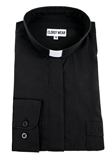 Mercy Robes Women's Long Sleeve TAB Collar Clergy Shirt (14, Black)
