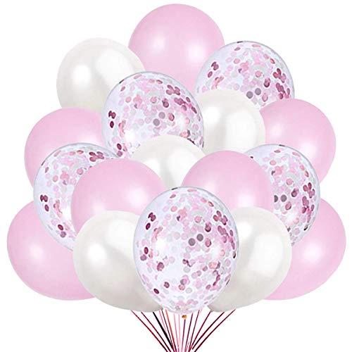 60 Palloncini Rosa Bianco e Confetti Balloon, 50 Palloncini Classici + 10 Palloncini di Coriandoli. Decorazioni per Festa Compleanno e Battesimo
