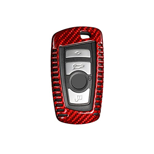 ZHANGZHAO Fit For BMW 1 3 4 5 7 Series X3 Carbon Fiber Remote Key Fob Shell Holder Cover Replacement Red