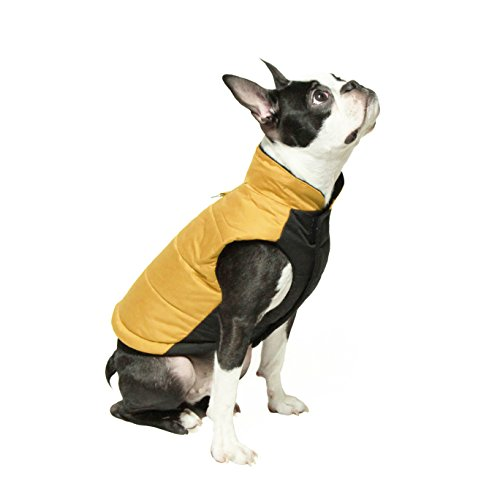 Gooby - Wind Parka, Fleece Lined Small Dog Jacket Coat Sweater with Water Resistant Shell and Leash Ring, Yellow, X-Small