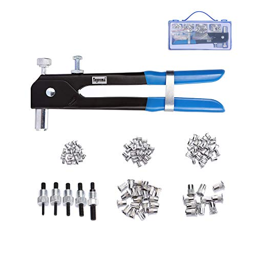 Toprema 126-teiliges Nietmuttern-Werkzeugset, Blindnietmutter, Handnieter, Gewehrschlüssel, Gewindeeinsatz, Nietmutter M3/M4/M5/M6/M8