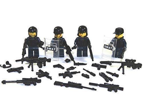 4 Custom SWAT Polizei Minifiguren aus Lego© und Custom Teilen mit Schild und viel Zubehör