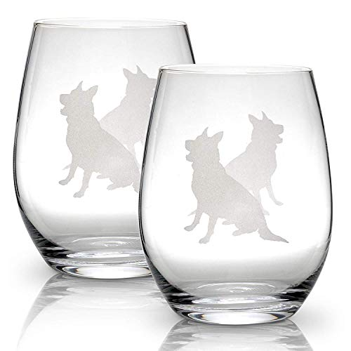 German Shepherd Stemless Wine Glasses (Set of 2) | Unique Gift for Dog Lovers | Hand Etched with Breed Name on Bottom