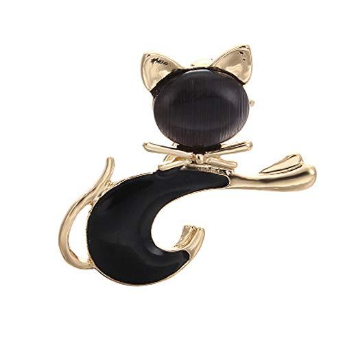 U-K Cute Tie Cat Brooch Ramillete Liso Mujeres Sombrero de ala Estrecha Broches de Esmalte Studs Regalos para niñas Negro Creativo y útilConveniente y Popular
