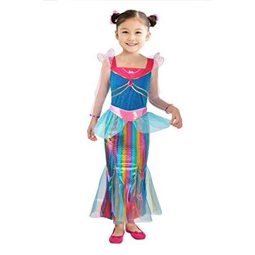 Ciao-Barbie Sirena Arcobaleno costume bambina, 4-5 anni, Multicolore, 11665.4-5