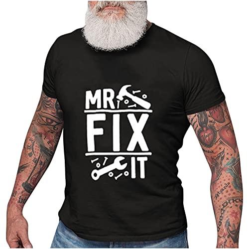Camiseta y camiseta para hombre, regalo para el día del padre, MR, FIX IT, herramientas mecánicas, impresión de camisetas, divertido regalo para el Día del Padre y el abuelo. Negro XXXL