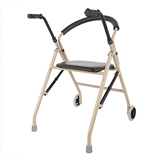 ZXL Walker Carbon Steel Doble Uso, Asiento Plegable, Ruedas Antideslizantes, Altura Ajustable (Color: Color Champagne)