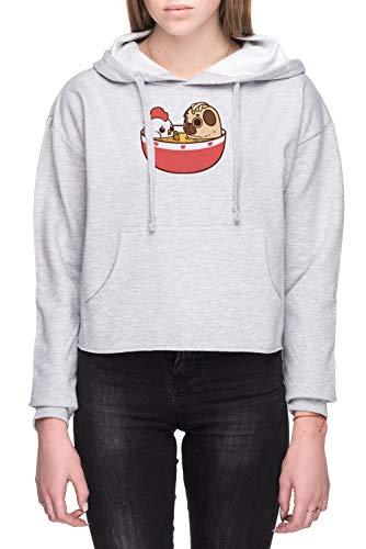 Rundi Hähnchen Nudel Puglie Damen Bauchfreies Crop Sweatshirt Kapuzenpullover Grau Größe M - Women's Crop Hoodie Sweatshirt Grey