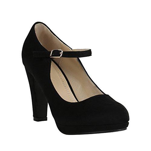 Damen Schuhe Plateau Pumps Lack Spangenpumps High Heels Blockabsatz 157223 Schwarz Brito 39 Flandell