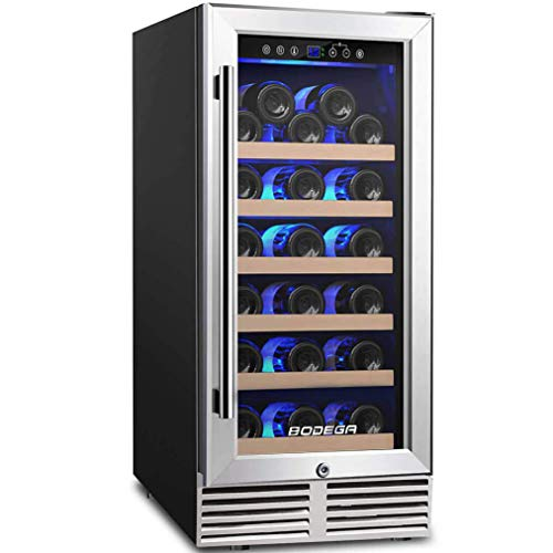 BODEGA 15 Inch Wine Cooler, Built-in Wine Refrigerator 31 Bottle with Compressor Cooling,Constant Temperature System,Front Vent, Stainless Steel Glass...
