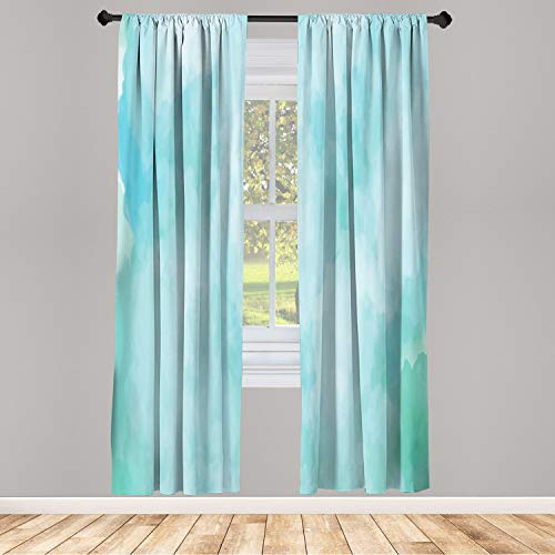 Ambesonne Art Abstract Window Curtains, Pastel Dream with Smoke Look Watercolor Creative Illustration, Lightweight Decorative Panels Set of 2 and Rod Pocket, 56' x 63', Blue Seafoam