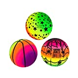 Homoyoyo Balles Arc-en-Ciel 3 PIÈCES 16CM PVC Balles de Jeu Kickball Eco- Amical Ballon De Plage pour Enfants Et Adultes Intérieur Sport en Plein Air Jeu (Couleur Aléatoire)
