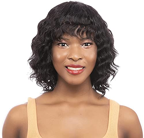 iShine Wavy Bob Wigs with Bangs 100% Human Hair Wig Short Wavy Bob Curly Wig 12 Inch Loose Wave Wig None Lace Front Wig Glueless Wig Jet Black Wigs for Black Women-(Jet Black #1)