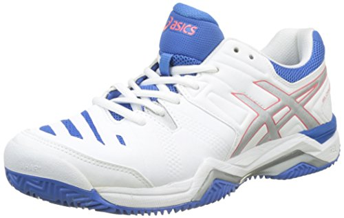 Asics Damen Tennis Schuhe Gel-Challenger 10 Clay E555Y White/Silver/Powder Blue 37