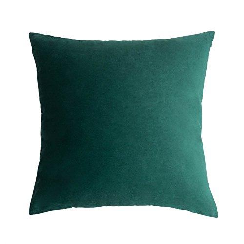 Funda cojín Velvet 100% poliéster, Color Verde. Terciopelo Liso, Un básico Ideal 45x45 cm.