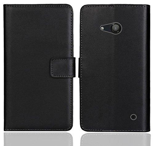 FoneExpert® Microsoft Lumia 550 Handy Tasche, Wallet Hülle Flip Cover Hüllen Etui Ledertasche Lederhülle Premium Schutzhülle für Microsoft Lumia 550 (Schwarz Farbe)