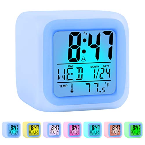 Kids Alarm Clock Wake Up Easy Setting Digital Travel Alarm Clock for Boys Girls, Large Display Time/Date/Alarm with Snooze, Bedside Clock Handheld Sized, LED Night Light Clock - Best Gift for Kids