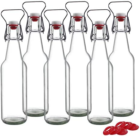 YEBODA Clear Glass Beer Bottles for Home Brewing with Stainless Handle Easy Wire Swing Cap Airtight product image
