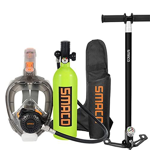 Equipo de buceo con tanque de buceo para buzo Mini tanque de buceo con máscara de snorkel Cilindro de oxígeno con dispositivo de respiración subacuática de 15 a 20 minutos Equipo de buceo de 1 l,Verde