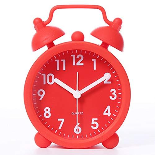 dingtian Despertador Niños Creativo Pequeño Despertador Silencioso Europa Retro Noche Reloj Vibrador Despertador Mecánico Despertador Rojo