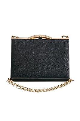 Women Faux Snakeskin Clutch Purse Hard Case Handbag With Two Detachable Chains