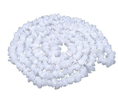 Lebensquelle Plus Weißer Achat Splitterkette lang endlos ohne Verschluss 90 cm