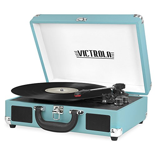 Victrola Vintage 3-Speed Bluetooth Portable Suitcase Record Player with Built-in Speakers | Upgraded Turntable Audio Sound| Includes Extra Stylus | Aqua Turquoise (VSC-550BT-TU)