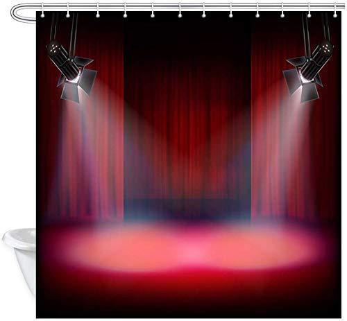 remmber me Musik Duschvorhang eine Theaterbühne mit einem roten Vorhang und einem Spotlight Home Decor Stoff Duschvorhang Badezimmer Polyester Badvorhang mit 12 Haken 60x72 Zoll