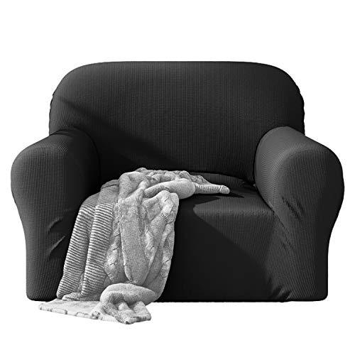 Dreamzie - Sofabezug 1 Sitzer Elastische - Grau - Oeko-TEX® - Sofa Überzug 60{cb90571bf280d4264d07dc3f8dc8da1da5bbfc3a3536294628472a3714a234a3} Recycelter Baumwolle - Made in Europe