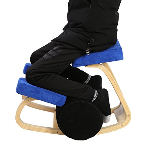 MallBoo Ergonomic Kneeling Chair for Office/Computer/Game/Home Knee Chairs Stool - Comfortable Thick Cushion - Stretch Back Bends & Aches Relieve Improve Balance Hold (Blue)