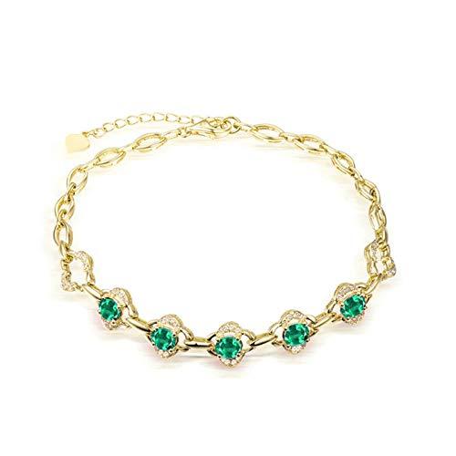 AnazoZ Pulsera Mujer Esmeralda,Pulsera Mujer Oro Amarillo 18 Kilates Oro Verde Flor con Oval Esmeralda Verde 1.95ct Diamante 0.23ct