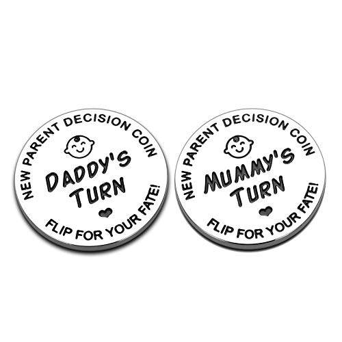 New Baby Gift for Parent Mom Daddy Funny Decision Coin for Women Men Pregnancy Mothers for First Time Moms Dads Mummy to Be Christmas Birthday Present Double-Sided