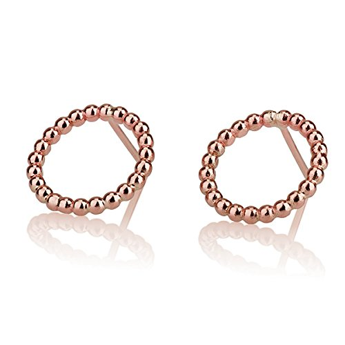 Round Circle 14 Karat Rose Earrings Cheap sale Stud Tampa Mall Gold Red Small