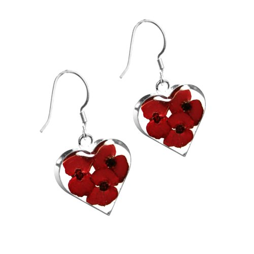 Silver drop Earrings made with real flowers - Poppy - Heart - Includes giftbox