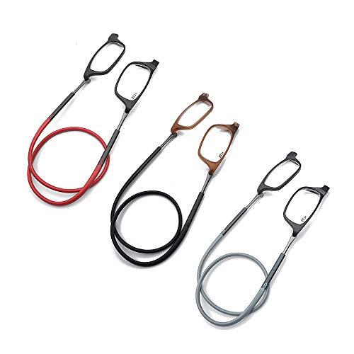 Y&J magnetische leesbril 1.75, verstelbare frontaansluitlezer met lange steel, TR90 super licht en zacht unisex