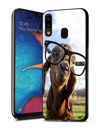 Galaxy A20 Case, Galaxy A30 Case, Premium TPU Slim Anti-Scratch Rubber Protective Case Cover for Samsung Galaxy A20 (2019) / A30 (2019) - Goat with Glasses