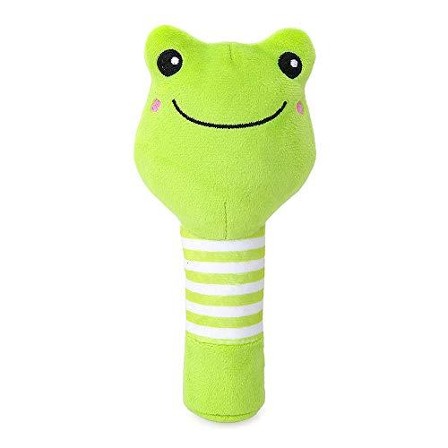 Homeng Rassel und Quietschspielzeug für Neugeborene, mit Glocke und Schnabelspielzeug, Plüschrassel, Frosch, 14 cm