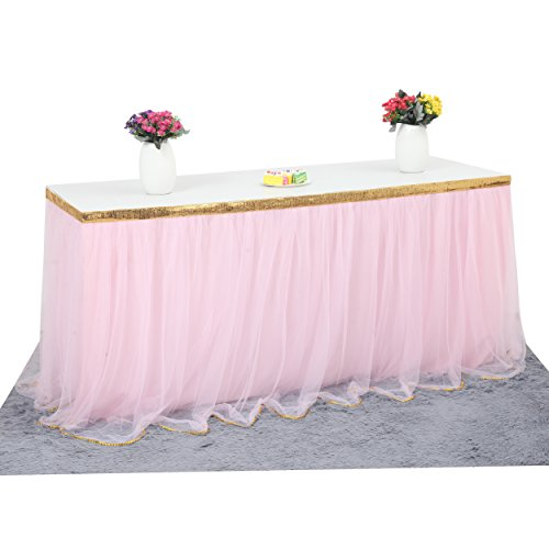 HB HBB MAGIC 9 ft Pink Tulle Table Skirt for Rectangle or Round Table Tutu Table Skirt for Bridal Shower Birthdays Wedding Baby Shower Party