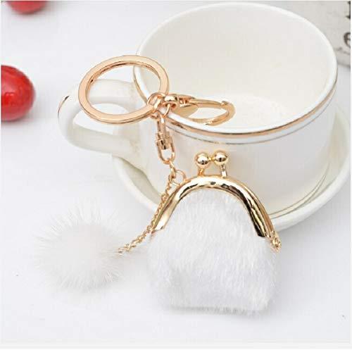 PengSF PSF 3 PCS mini unieke sleutelhangers portemonnee vrouwen pompon-konijnen-bol-pluche sleutelring houder meisje tas charme-vrouwen portemonnee (zwart) wit