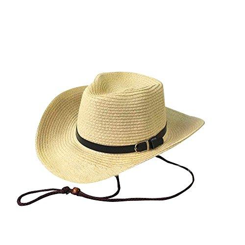 SHINA Chapeau federo Cowboy Style American Homme Chapeau de Soleil D'Ete (Beige)
